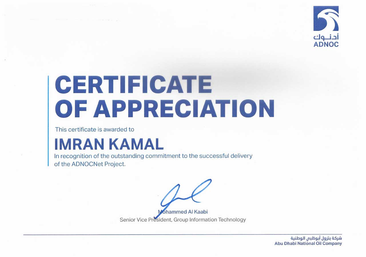 Certificate of Appreciation from ADNOC HQ